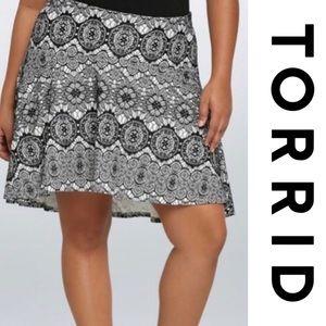 Torrid Stretch Lace Print Hi-Lo Circle Skirt 0 L